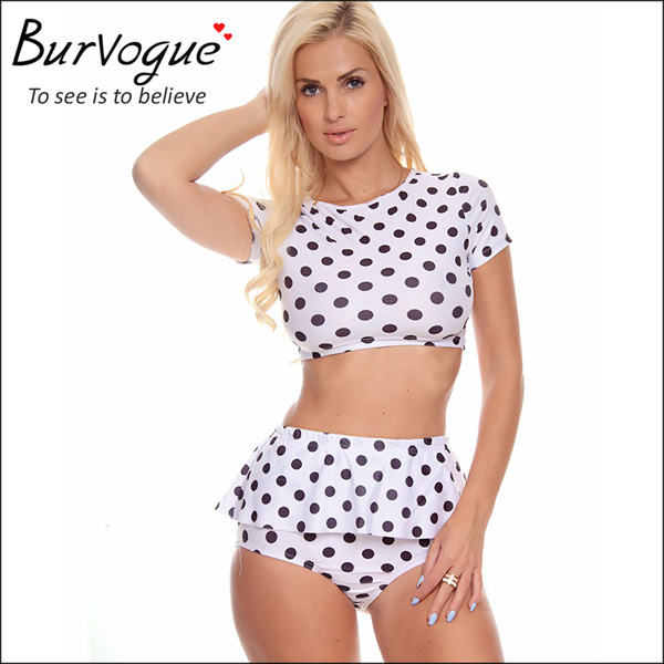 ladies polka dot swimsuit lovely two piece vintage swimsuit-78013