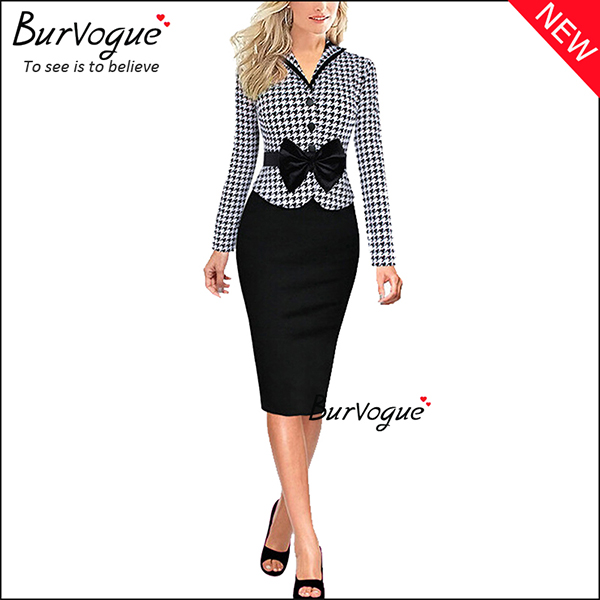 long-sleeve-lattice-business-work-bodycon-dress-with-bow-15685