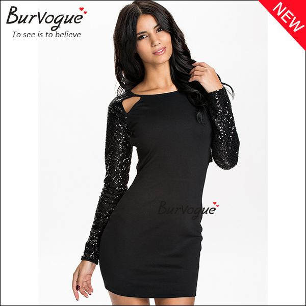 long sleeve sequin dress black cut out cheap bodycon dress