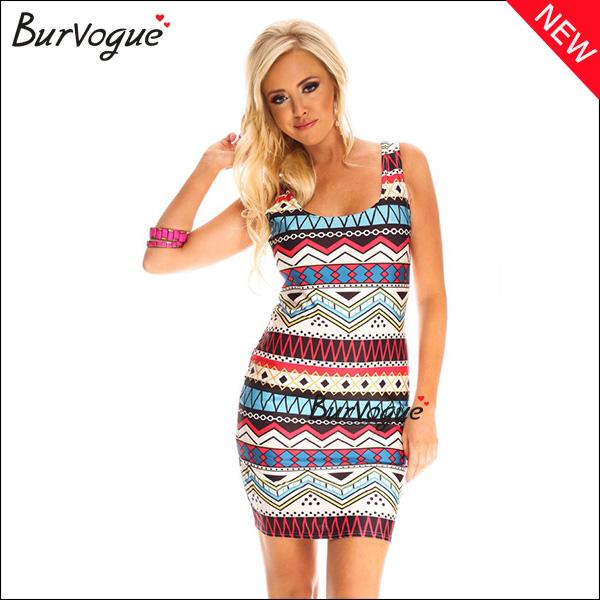 Modern Backless Color Block Printing Dress Sleeveless