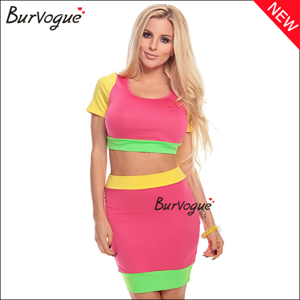 new-two-piece-color-block-dress-short-sleeve-sheath-dress-15503