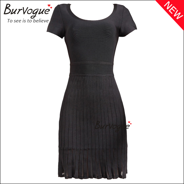 new-women-round-neck-party-dress-short-sleeve-bandage-dress-15632
