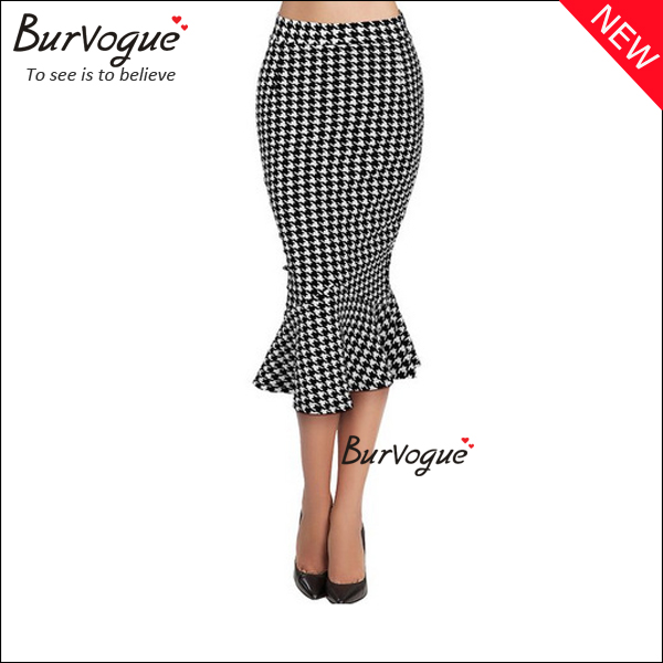 new-women-stripe-fluted-hem-long-casual-tight-pencil-skirt-15589