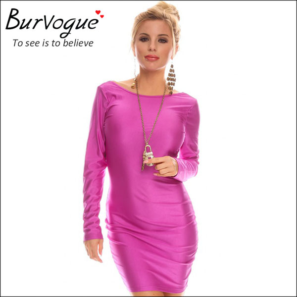 new hot pink long sleeve sheath dress backless sexy dress-15557