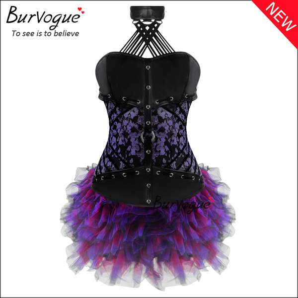 noble-purple-floral-leather-overbust-corset-dress-with-zip-p-20012