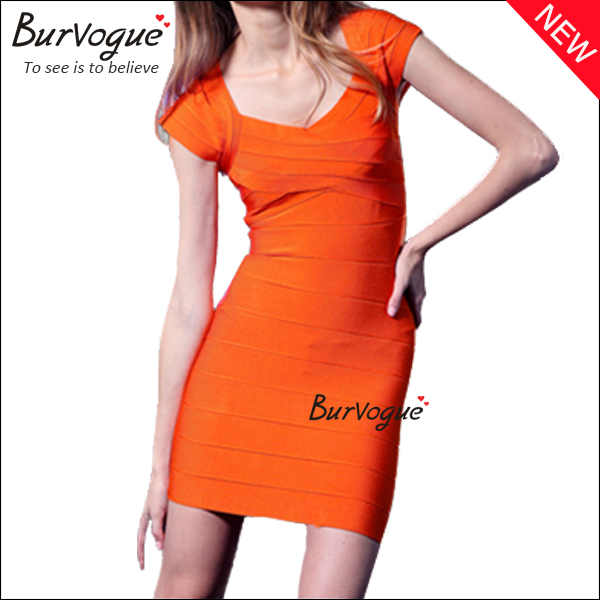 orange-short-sleeve-bodycon-dress-15630
