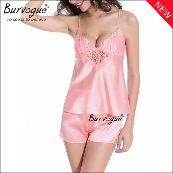 pink-elegant-chiffon-babydolls-lace-robes-lingerie-wholesale-13166