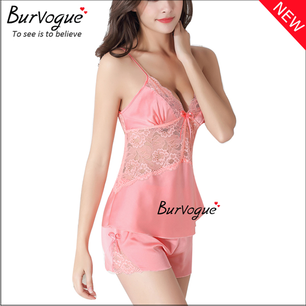 pink-women-silk-sleepwear-nightgown-set-babydolls-wholesale-13173