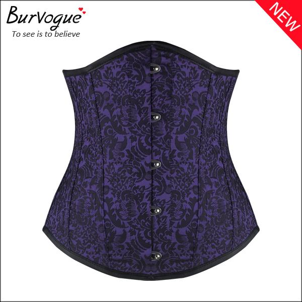 purple-dobby-14-steel-boned-waist-cincher-underbust-corset-23088
