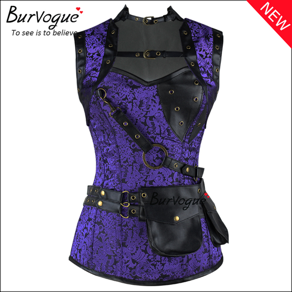 purple-gothic-black-steampunk-corset-zip-12-steel-boned-bustier-tops-23081