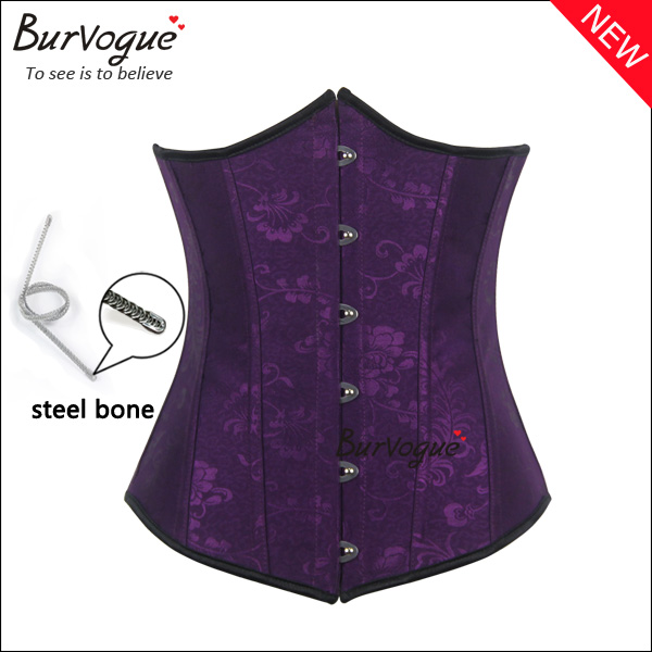 purple-jacquard-steel-boned-underbust-waist-training-corset