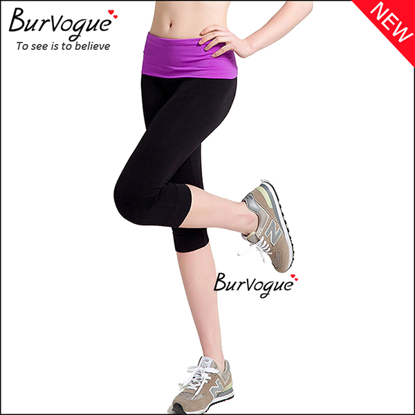purple-women-tight-capri-pants-tummy-control-sports-leggings-80081