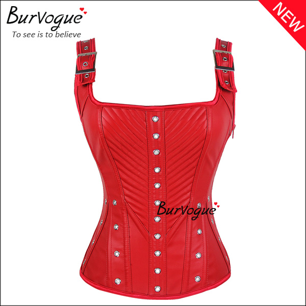 red-leather-overbust-corset-zipper-bustier-tops-with-straps-24027