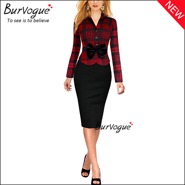 red-long-sleeve-lattice-business-work-bodycon-dress-with-bow-15685