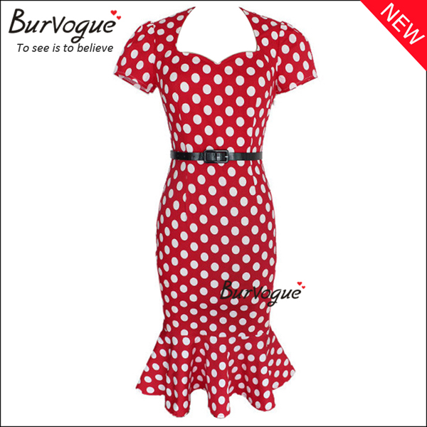 red-polka-dot-mermaid-casual-dress-bodycon-dress-15676