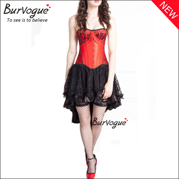 red-satin-ruffle-cheap-bustier-lace-corset-dress-wholesale-p-20002