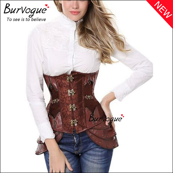 retro-brocade-leather-corset-steel-boned-steampunk-corset-23080