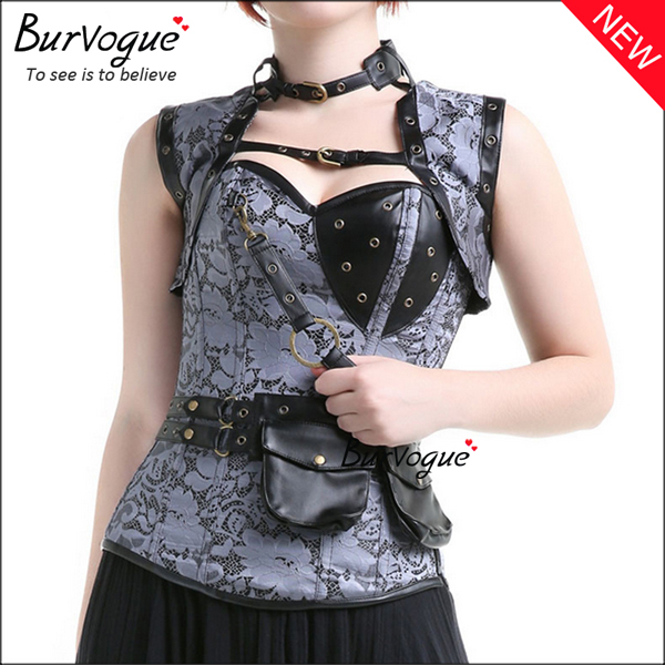 retro-grey-steampunk-corset-zip-12-steel-boned-bustier-tops-23081