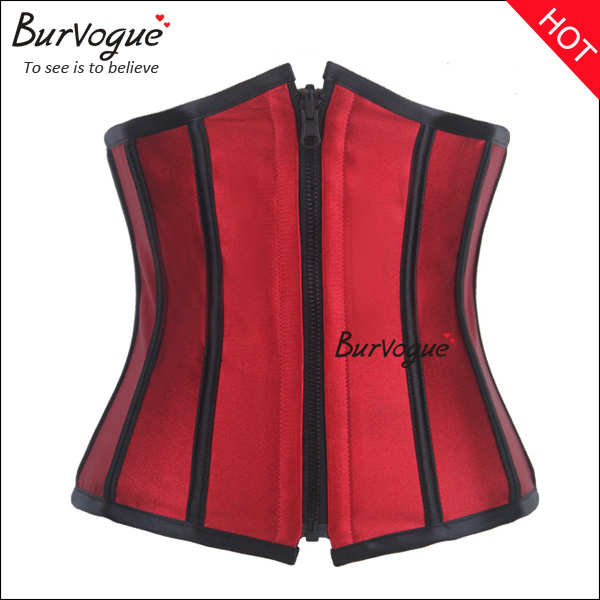 reversible wear red satin waist training steel boned corset -23062