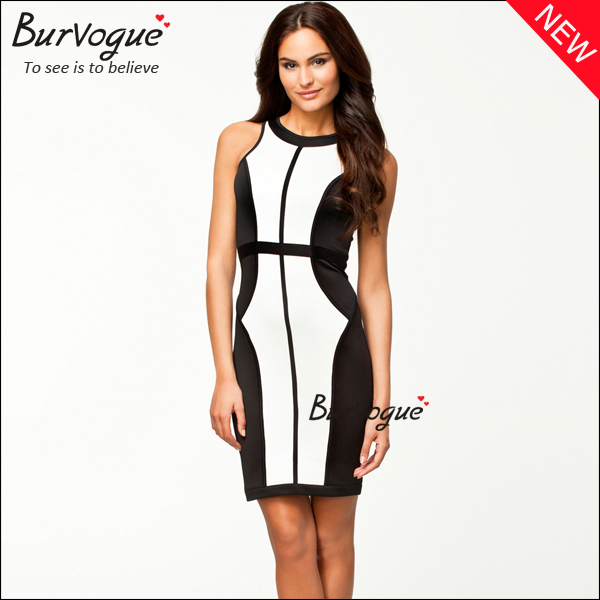 Black-And-White-Patchwork-Dress-Party-Dress