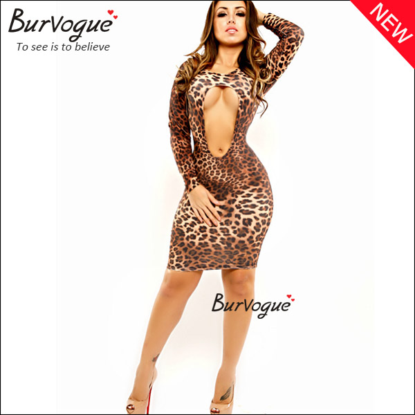 sexy cut out leopard dress fashion wrap dress bodycon dress wholesale-15336