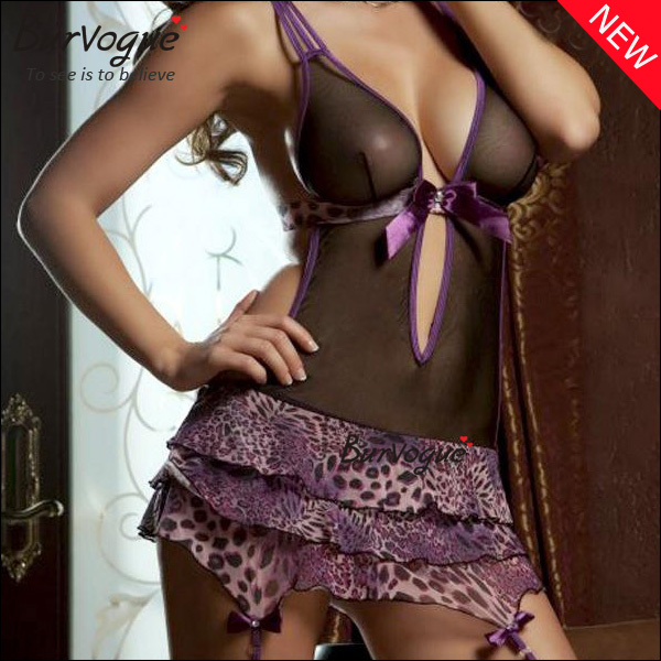 low cut sexy leopard tutu dress lingerie with mesh stock-13117