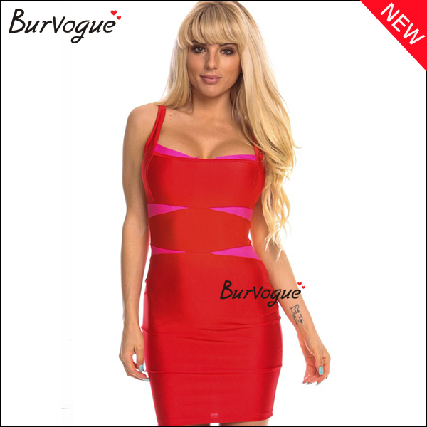 sexy red bodycon dress wrap dress wholesale-15427