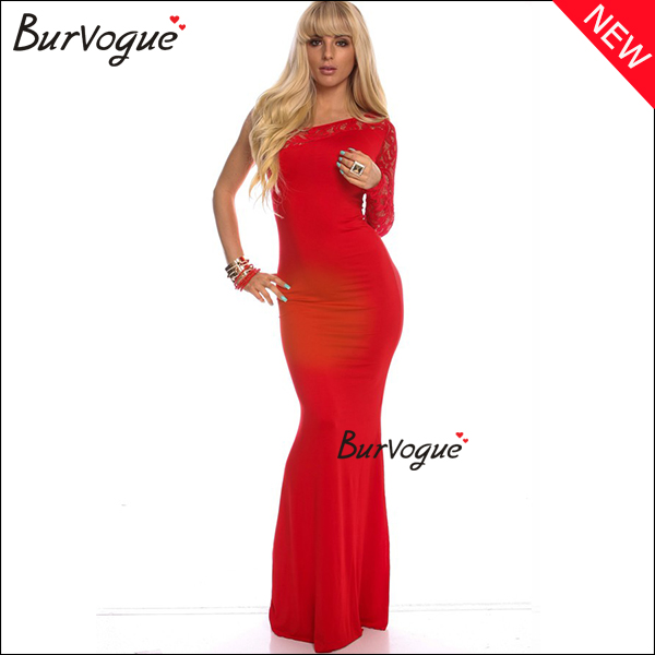 elegant red maxi dress sexy one shoulder prom dress wholesale-15431