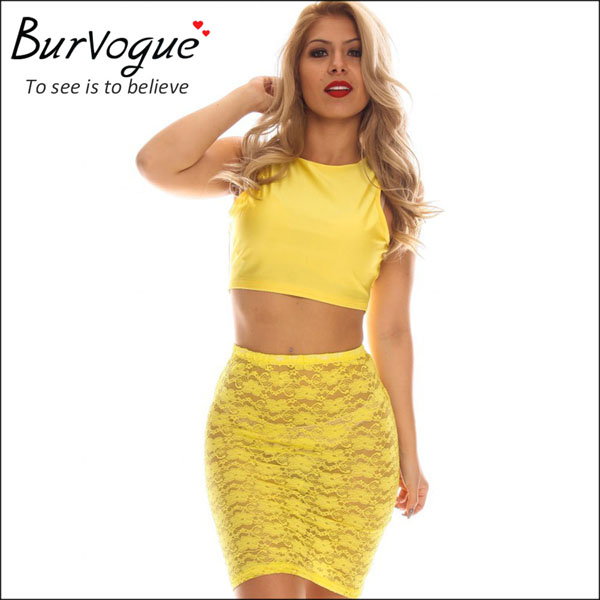 sexy yellow two piece sheath dress lace see through dress-15551