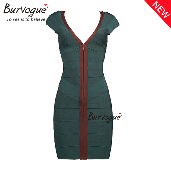 short-sleeve-casual-dress-front-zipper-party-bandage-dress-15636