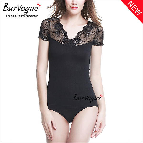 short-sleeve-shapewear-lace-body-shaper-wholesale-16075