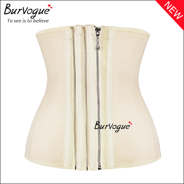 skin-three-zipper-smooth-latex-steel-boned-waist-training-corset-21439
