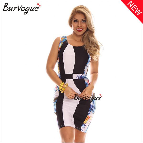 sleeveless bodycon dress fashion color block prom dress wholesale