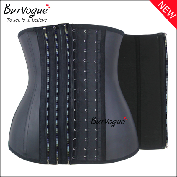smooth-latex-11-steel-boned-waist-training-corsets-with-3-zip-n-clips-21444