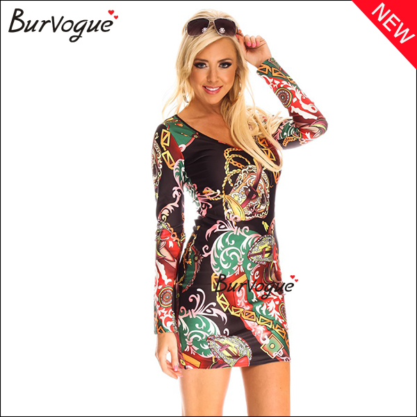 special-deep-v-printing-dress-long-sleeve-herve-leger-dress-15469