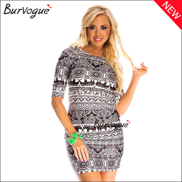 special-pattern-printing-dress-middle-sleeve-bodycon-dress-15462