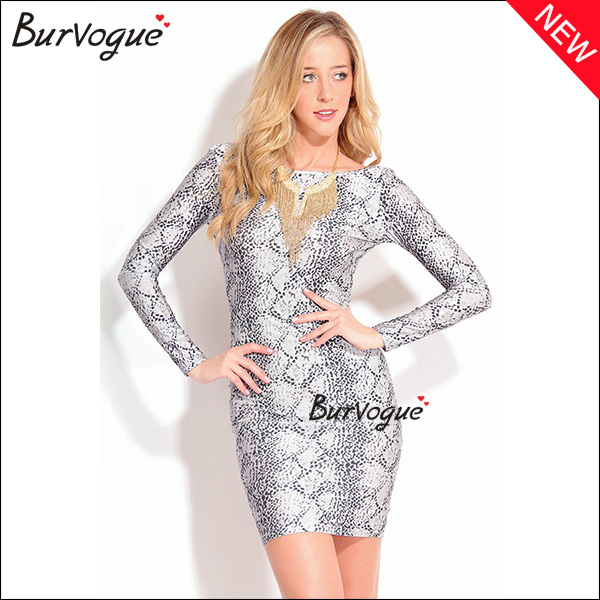 special python long sleeve dress backless bodycon dress-15515