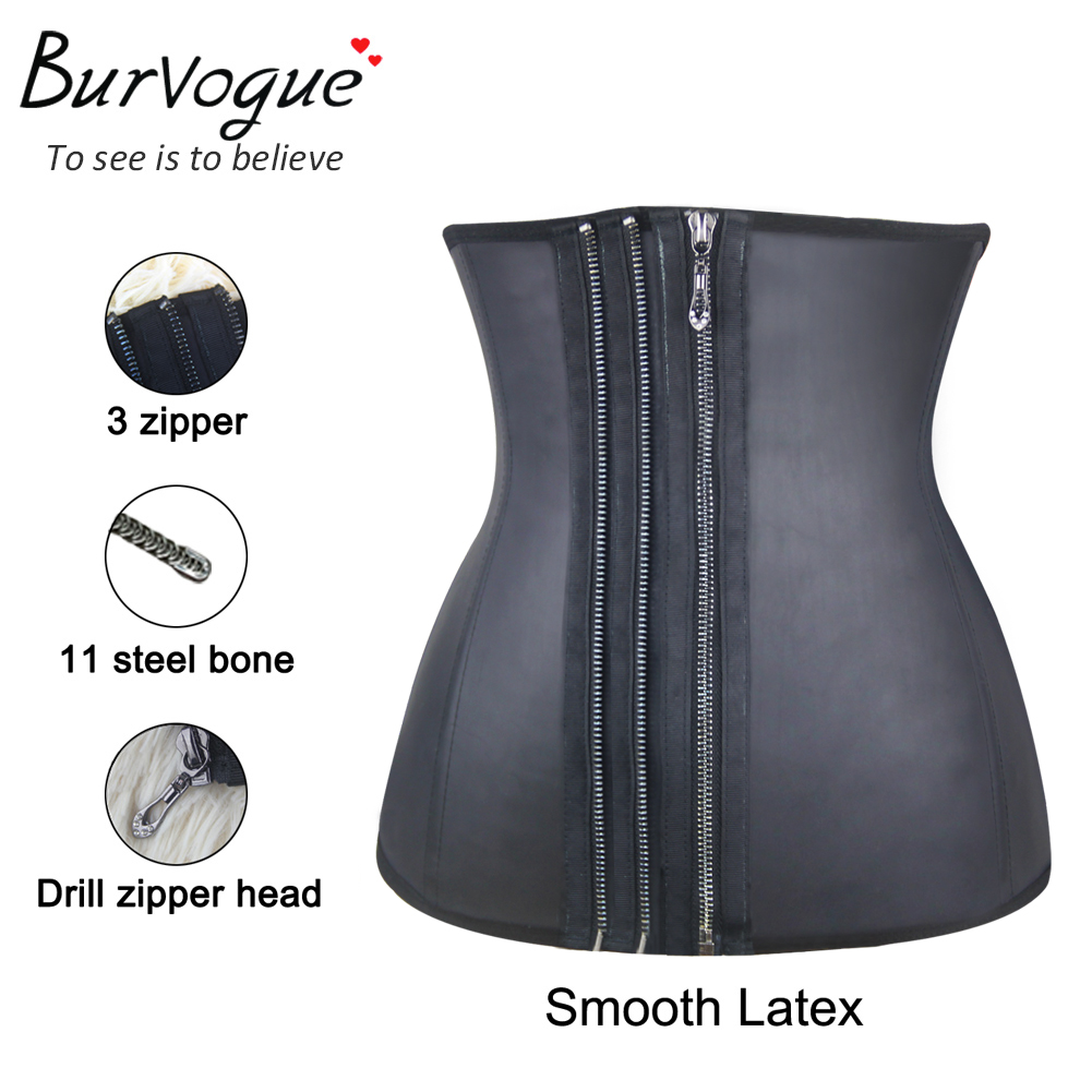 three-zipper-smooth-latex-steel-boned-waist-training-corset-21439