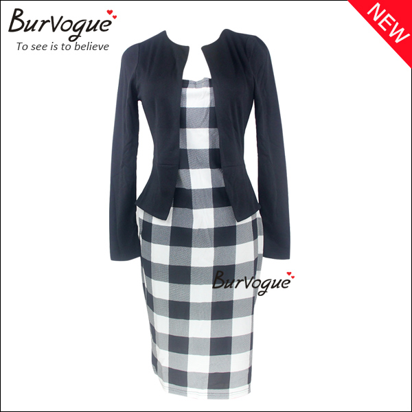 two-pieces-elegant-women-checkered-casual-formal-work-dress-15576
