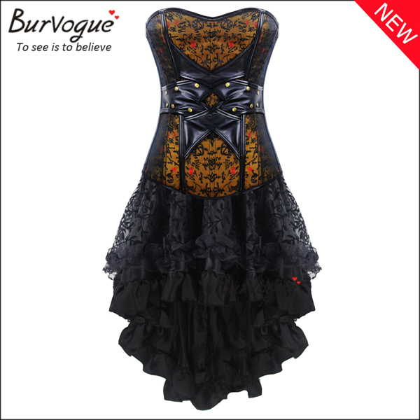 two-pieces-leather-corset-dress-jacquard-corset-with-zipper-p-20003