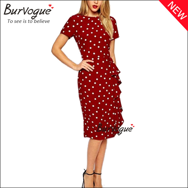 vintage-polka-dot-party-dress-short-sleeve-sheath-dress-15674
