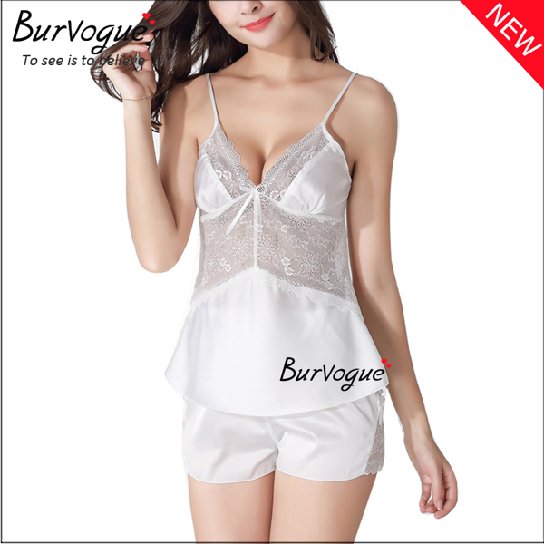 white-sexy-women-silk-sleepwear-nightgown-set-babydolls-wholesale-13173