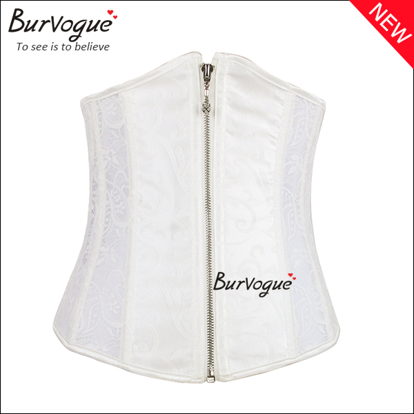 white-wedding-steel-boned-corset-front-zipper-lace-underbust-23075