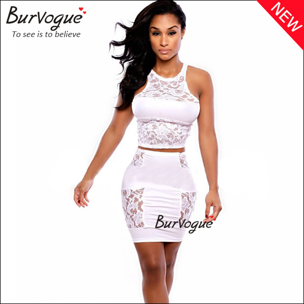 white lace bodycon dress sleeveless club wear wholesale-15324