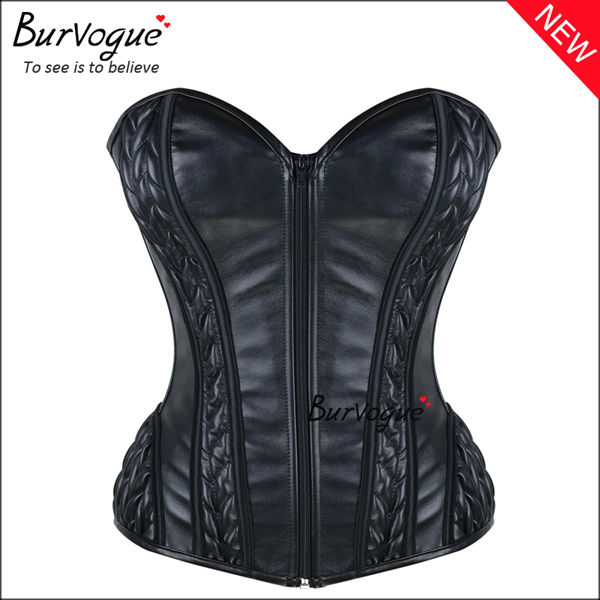 wholesale-black-zipper-leather-overbusr-corset-bustier-tops-24051