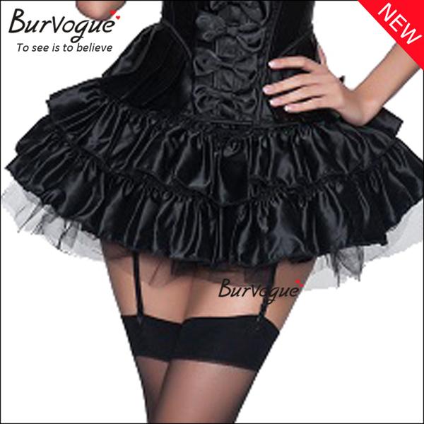 women-black-falbala-elastic-bustier-skirt-corset-tutu-dress-32032