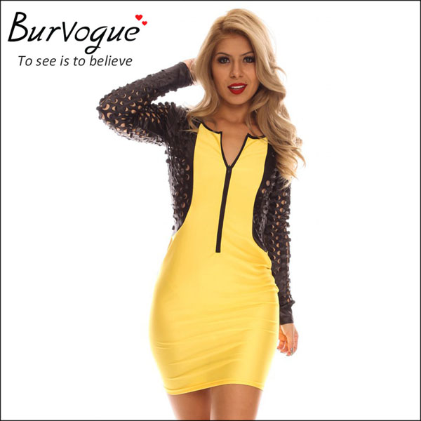 women yellow sheer party dress zipper front sheath dress-15556