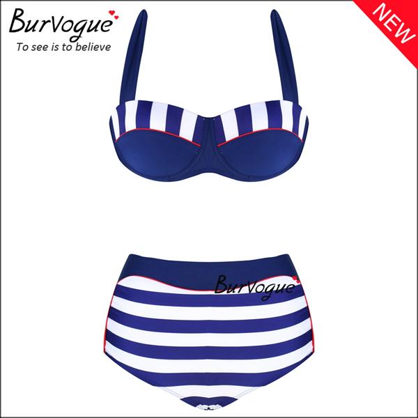 womens-high-waist-swimsuits-stripe-push-up-bikinis-wholesale-70144
