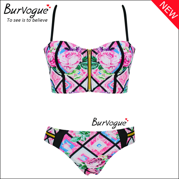 womens-push-up-bikinis-printed-rose-swimwear-with-zipper-70150