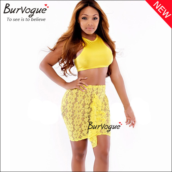 yellow lace club dress 2 pieces sleeveless bodycon dress-15323